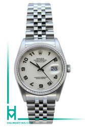 Rolex Stainless Steel Datejust 36mm - White Arabic Dial - Ref. 16234