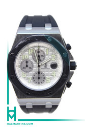 Audemars Piguet Stainless Steel Royal Oak Offshore Rubberclad - Black Rubber Bezel and Silver Dial - Ref. 25940SK.OO.D002CA.02