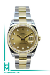 Rolex Two Tone Datejust 36mm - Champagne Diamond Dial - Ref. 116203