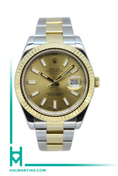 Rolex Two Tone Datejust II 41mm - Champagne Baton Dial - Ref. 116333 (Item 11810Y)