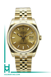 Rolex 18K Yellow Gold Datejust 36mm - Champagne Baton Dial - Ref. 116238