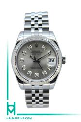 Rolex Stainless Steel Midsize Datejust - Silver Diamond Dial - Ref. 178274