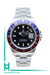 Rolex Stainless Steel GMT Master II - Pepsi Blue and Red Bezel and Black Dial - Ref. 16710