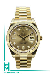 Rolex 18K Yellow Gold Day Date II 41mm - Champagne Diamond Dial - Ref. 218238
