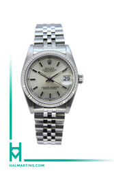 Rolex Stainless Steel Midsize Datejust - Silver Baton Dial - Ref. 68274
