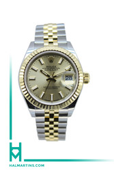 Rolex Ladies Two Tone Datejust 28 - Champagne Baton Dial - Ref. 279173