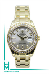 Rolex Men's 18K YG Masterpiece Day-Date - Silver Diamond Dial and Bezel - Ref. 18948
