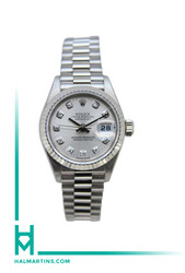Rolex 18K White Gold Lady Datejust President - Silver Diamond Dial - Ref. 69179