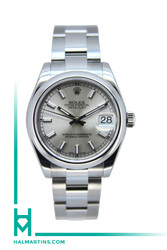 Rolex Stainless Steel Midsize Datejust - Silver Baton Dial - Ref. 178240