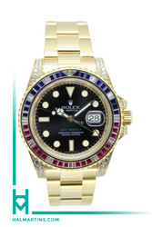 Rolex 18K YG GMT Master II - Factory Ruby/Sapphire/Diamond Bezel and Lugs - Ref. 116758