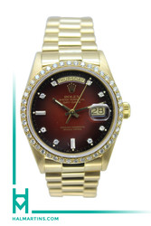 Rolex 18K Yellow Gold Day-Date President - Red Vignette Diamond Dial - Ref. 18038