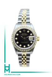 Rolex Two Tone Ladies Datejust 36mm - Diamond Bezel and Black Diamond Dial - Ref. 69173