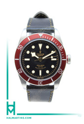 Tudor Stainless Steel Heritage Black Bay - Red Bezel and Distressed Strap - Ref. 79220R