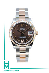 Rolex Two Tone Everose and Stainless Steel Midsize Datejust - Scattered Diamond Bezel and Chocolate VI Dial - Ref. 178341