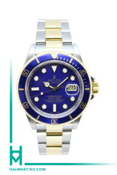 Rolex Two Tone 18K and Stainless Steel Submariner Date - Blue dial and Blue Bezel - Ref. 16613