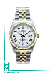 Rolex Two Tone Datejust 36mm -  White Roman Dial - Ref.16013