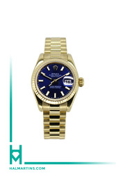 Rolex Yellow Gold Ladies Datejust - Blue Index Dial - Ref. 179178