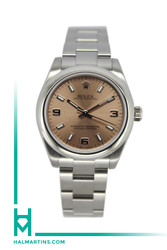 Rolex Stainless Steel Oyster Perpetual - 31mm - Pink Dial With Arabic and Index Markers - Ref. 177200
