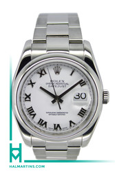 Rolex Stainless Steel Datejust - 36mm White Roman DIal - Ref. 116200