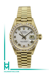 Rolex 18k Yellow Gold Datejust 26mm - Pyramid Dial - Diamod Bezel - Ref. 69268