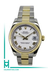 Rolex Two Toned Midsize Datejust - 31mm White Roman Dial - Ref. 178273