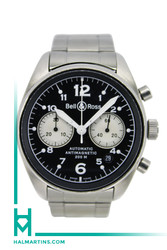 Men's Stainless Steel Bell & Ross Officer Automatic Chronograph -41mm Black Dial
