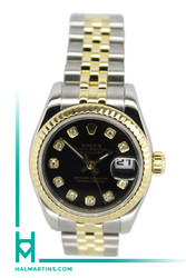 Rolex Ladies Two Tone Datejust - Black Diamond Dial - 26mm - Ref. 179173