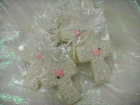Our famous and delicious butter cookies are simply irresistible.  Cross cookies!  Use as party favors for a religious themed event!  These are great for first holy communions, baptisms, catholic school events, fundraisers and more!