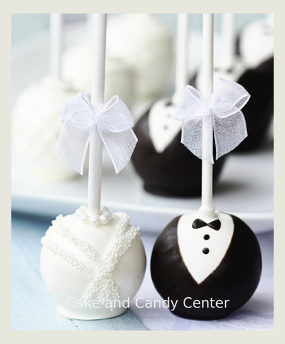 Bride & Groom Cake pops sold as a set.  The bride cake pops are white almond cake, white chocolate and decorations.  Groom cake pops are chocolate cake, dark & white chocolate, and decorations to look like a tuxedo.  Your guests will love these!