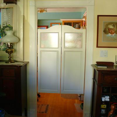 white kitchen swinging doors