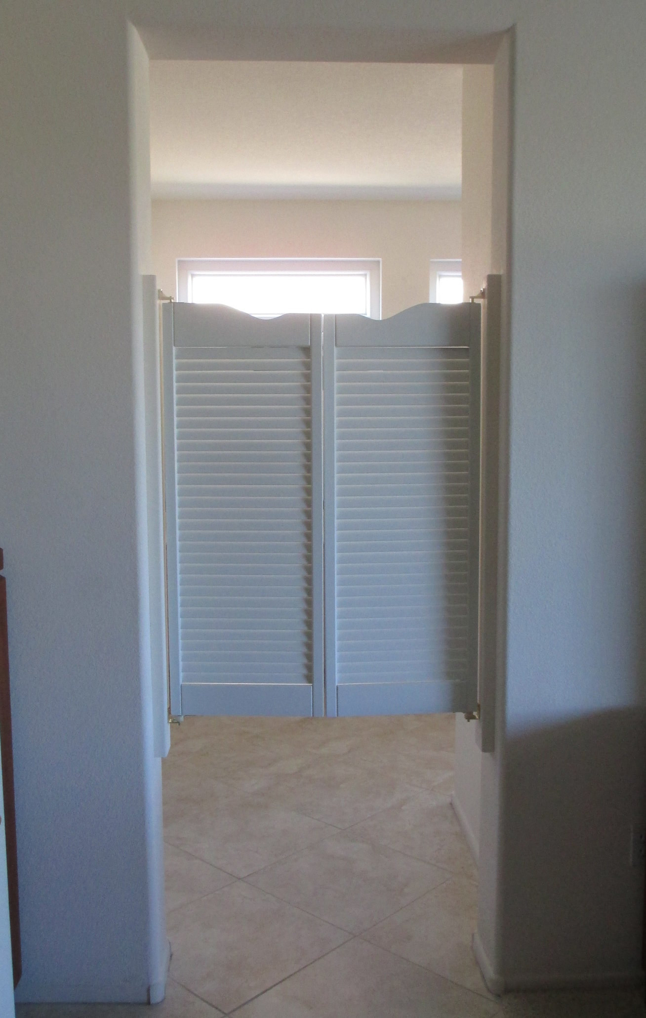 white cafe doors / saloon door -louvered fits any 36 inch door opening