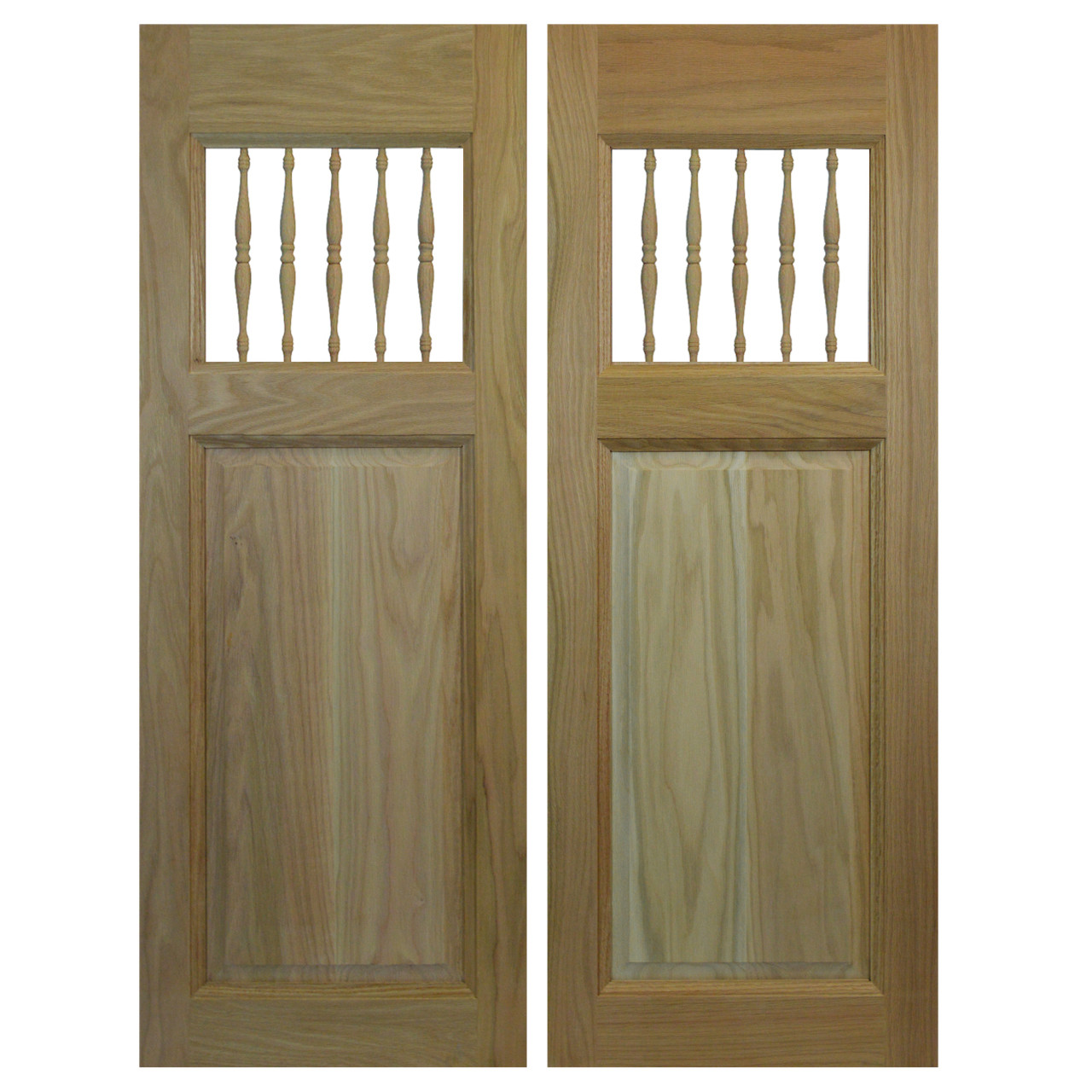 Commercial swinging oak cafe saloon doors with spindles