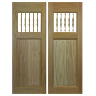 Swinging Oak Cafe / Saloon Doors with Spindles Commercial (24 in- 36 in Door Openings)