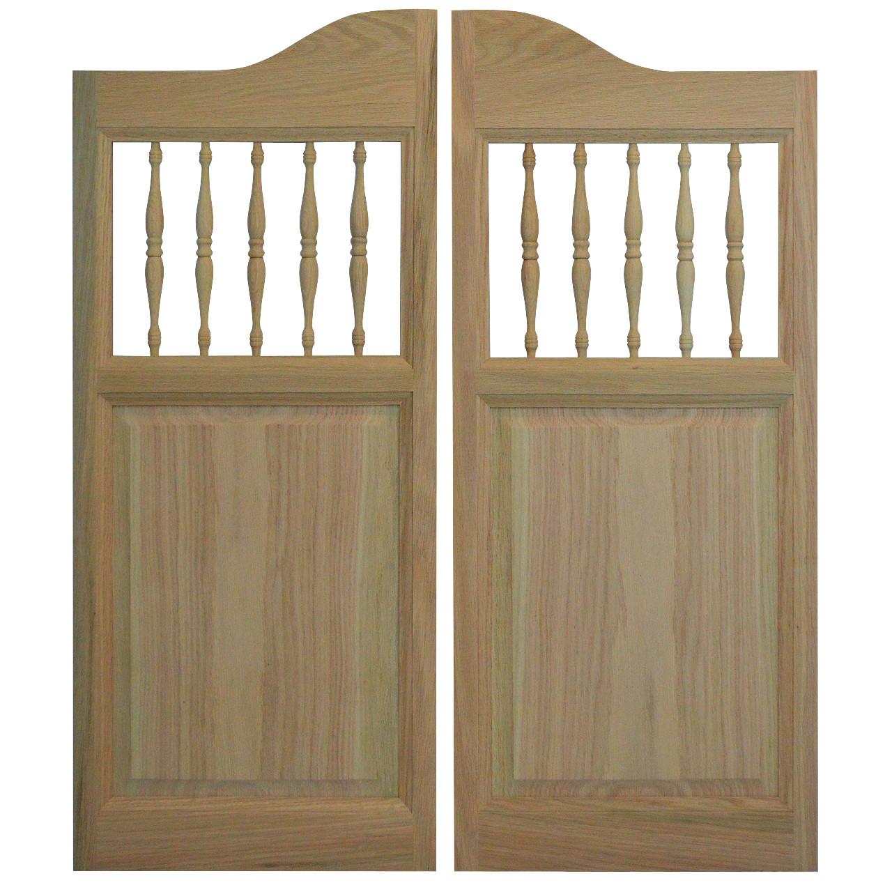 """Interior Swinging Kitchen Doors: Oak Western Cafe Doors / Saloon Doors With Spindles ( 24""""- 36"""" Door Openings"""