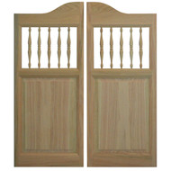 "Solid Oak Spindles Saloon Doors 24""- 36""  Door Opening Size"