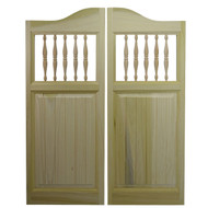"Beadboard Saloon/Cafe Doors with Spindles (36""- 42"" Door Opening)"