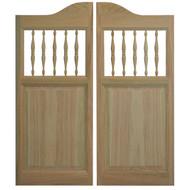 """Oak Spindles Saloon Doors 42""""- 48"""" Door Openings"""
