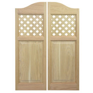 Lattice Oak Cafe Swinging Doors (48 in- 54 in Door Openings)