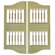 Double Arch & Spindles Poplar Saloon Doors (3.5' - 4' Door Openings)
