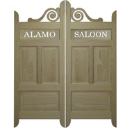 "Custom Scroll Oak Cafe | Saloon Doors - Personalize Words (48""- 54"" door openings)"