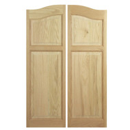 "Solid Western Oak Saloon Doors (36""- 42"" Door Openings)- Arched Panel and Arched Top"