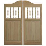 "Solid Oak Western Cafe Doors / Saloon Doors with Spindles | 54"" - 60"""