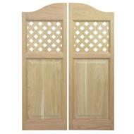 """Custom Oak Lattice Cafe Doors (54"""" - 60"""" Door Openings)"""