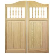 """Solid Oak Cafe Door / Saloon Door with Spindles (54""""-60"""" Door Openings)"""