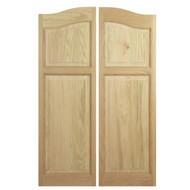 """Solid Western Oak Saloon Doors (54""""- 66"""" Door Openings)- Arched Panel *Doors in photo 48"""" tall"""