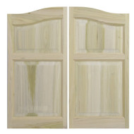 "Solid Poplar Arch Top with Matching Arch Panel Swinging Cafe Doors | Saloon Doors for 48""-54"" Door Openings"