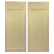 "Maple Shaker Style Flat Panel Cafe Doors / Saloon Doors 36""-42"" door opening"