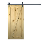 Pine V- Groove Barn Door with Track (Unfinished)