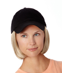 Hat with Hair SHORT - Black Cap