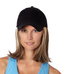 Medium Hat with Hair Black Cap